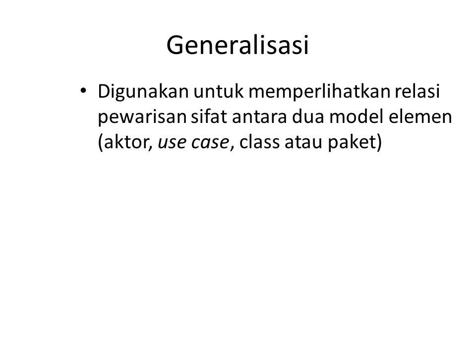 Generalisasi Digunakan untuk memperlihatkan relasi pewarisan sifat antara dua model elemen (aktor, use case, class atau paket)