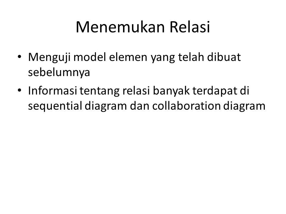 Menemukan Relasi Menguji model elemen yang telah dibuat sebelumnya Informasi tentang relasi banyak terdapat di sequential diagram dan collaboration di