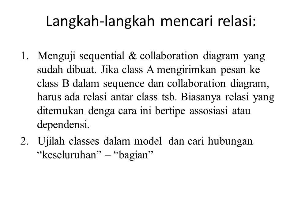 Langkah-langkah mencari relasi: 1. Menguji sequential & collaboration diagram yang sudah dibuat. Jika class A mengirimkan pesan ke class B dalam seque