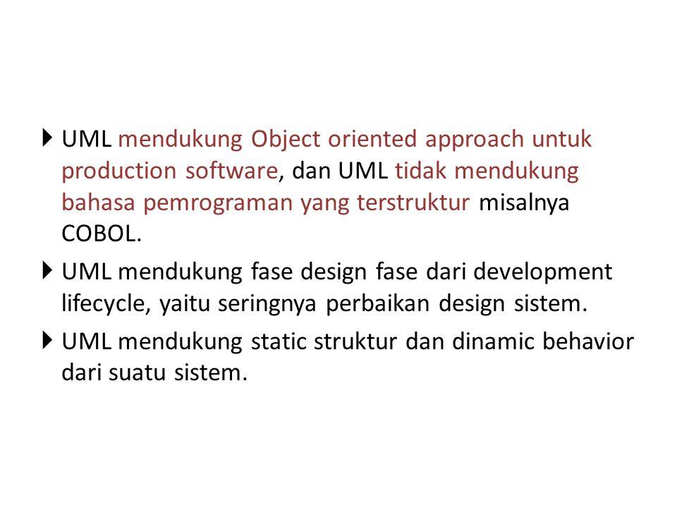  UML mendukung Object oriented approach untuk production software, dan UML tidak mendukung bahasa pemrograman yang terstruktur misalnya COBOL.  UML