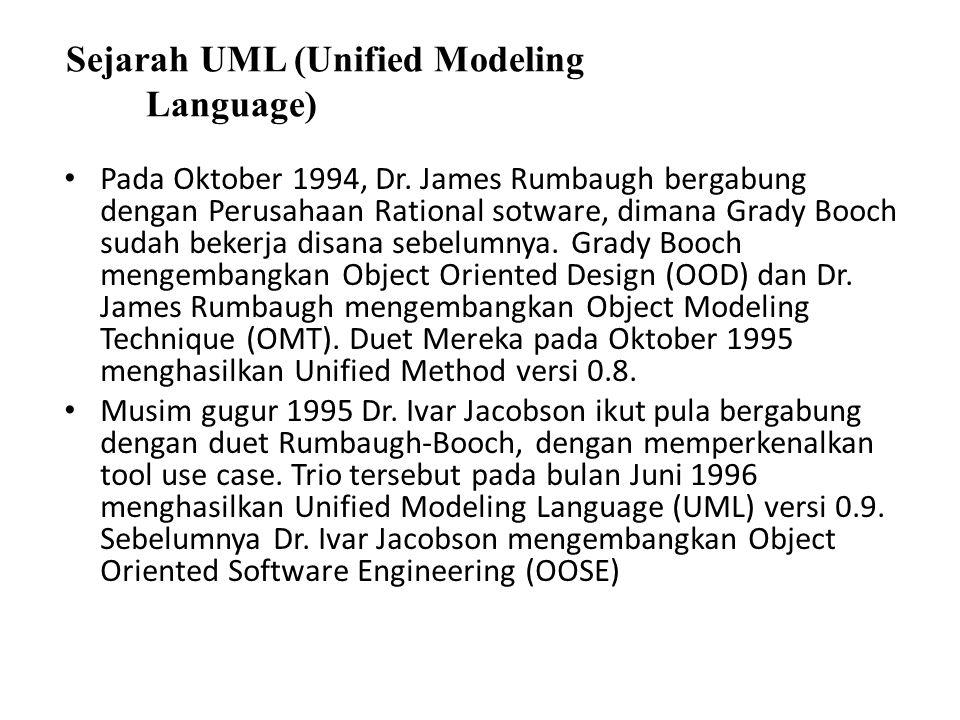 Sejarah UML (Unified Modeling Language) Pada Oktober 1994, Dr. James Rumbaugh bergabung dengan Perusahaan Rational sotware, dimana Grady Booch sudah b
