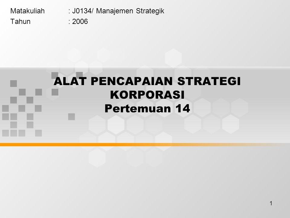 1 ALAT PENCAPAIAN STRATEGI KORPORASI Pertemuan 14 Matakuliah: J0134/ Manajemen Strategik Tahun: 2006
