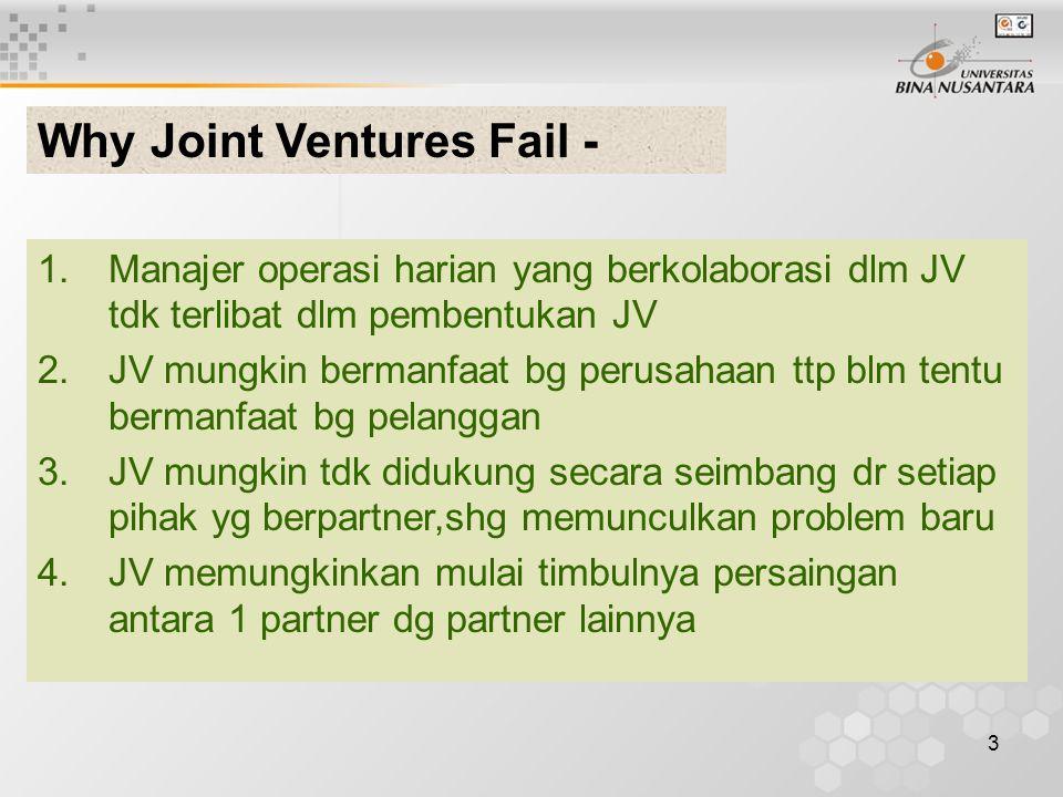 3 1.Manajer operasi harian yang berkolaborasi dlm JV tdk terlibat dlm pembentukan JV 2.JV mungkin bermanfaat bg perusahaan ttp blm tentu bermanfaat bg pelanggan 3.JV mungkin tdk didukung secara seimbang dr setiap pihak yg berpartner,shg memunculkan problem baru 4.JV memungkinkan mulai timbulnya persaingan antara 1 partner dg partner lainnya Why Joint Ventures Fail -