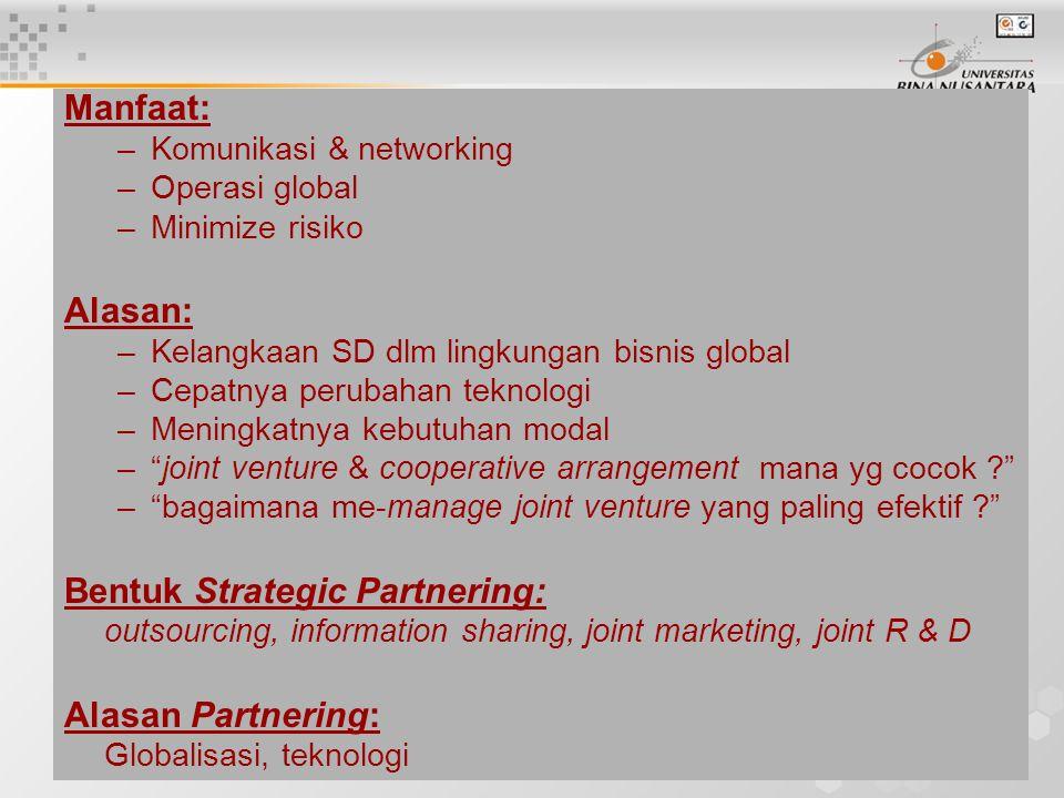 4 Manfaat: –Komunikasi & networking –Operasi global –Minimize risiko Alasan: –Kelangkaan SD dlm lingkungan bisnis global –Cepatnya perubahan teknologi