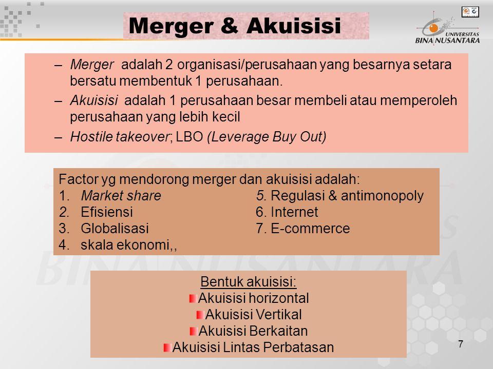 7 Merger & Akuisisi –Merger adalah 2 organisasi/perusahaan yang besarnya setara bersatu membentuk 1 perusahaan. –Akuisisi adalah 1 perusahaan besar me