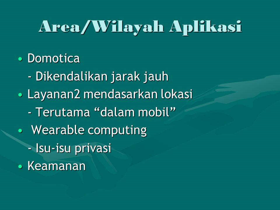 Area/Wilayah Aplikasi DomoticaDomotica - Dikendalikan jarak jauh Layanan2 mendasarkan lokasiLayanan2 mendasarkan lokasi - Terutama dalam mobil Wearable computing Wearable computing - Isu-isu privasi KeamananKeamanan