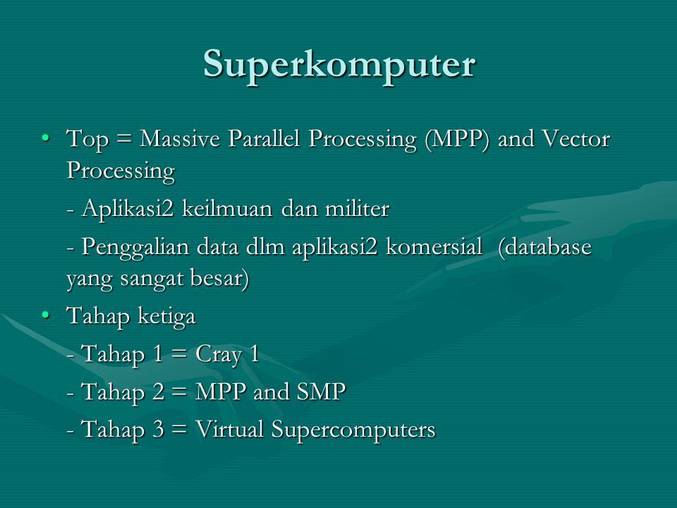 Superkomputer Top = Massive Parallel Processing (MPP) and Vector ProcessingTop = Massive Parallel Processing (MPP) and Vector Processing - Aplikasi2 keilmuan dan militer - Penggalian data dlm aplikasi2 komersial (database yang sangat besar) Tahap ketigaTahap ketiga - Tahap 1 = Cray 1 - Tahap 2 = MPP and SMP - Tahap 3 = Virtual Supercomputers