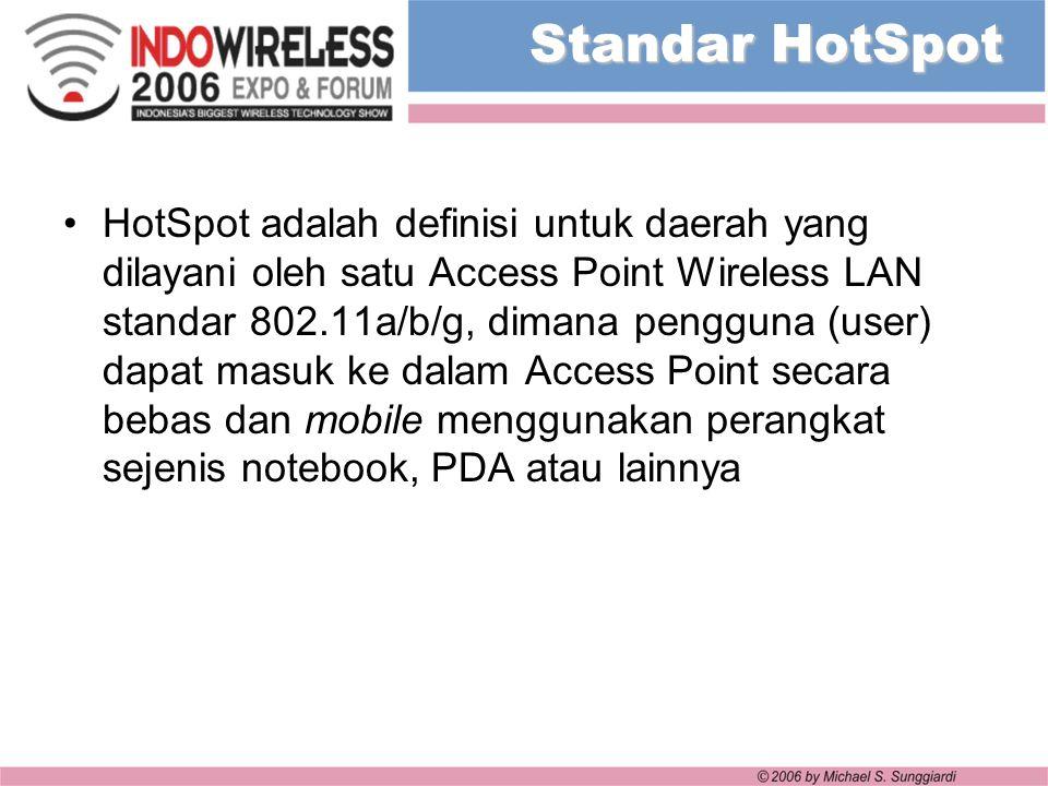 Standar HotSpot HotSpot adalah definisi untuk daerah yang dilayani oleh satu Access Point Wireless LAN standar 802.11a/b/g, dimana pengguna (user) dap