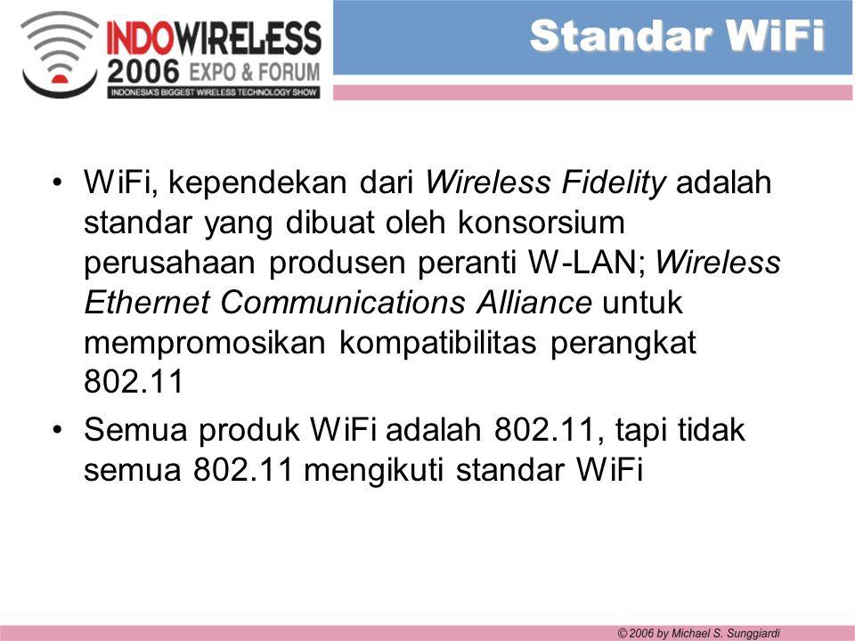 Standar WiFi WiFi, kependekan dari Wireless Fidelity adalah standar yang dibuat oleh konsorsium perusahaan produsen peranti W-LAN; Wireless Ethernet C