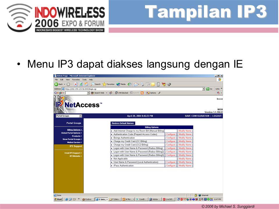 Tampilan IP3 Menu IP3 dapat diakses langsung dengan IE