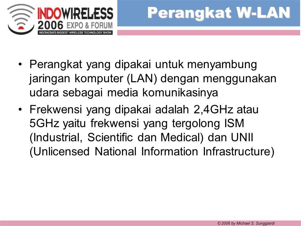 Perangkat W-LAN Perangkat yang dipakai untuk menyambung jaringan komputer (LAN) dengan menggunakan udara sebagai media komunikasinya Frekwensi yang di