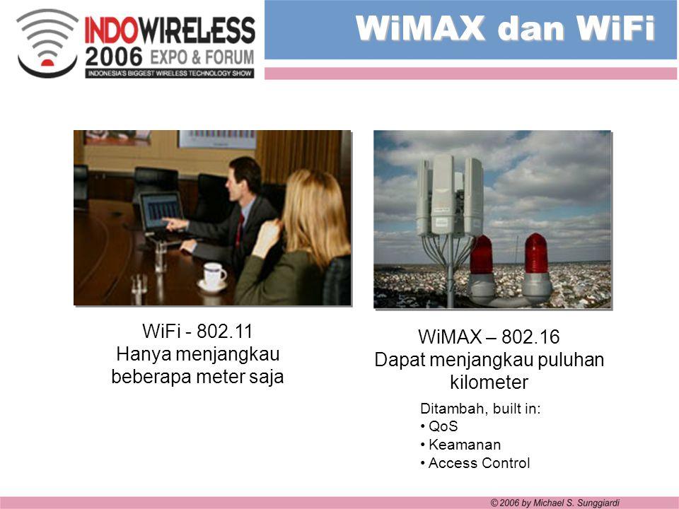 WiMAX dan WiFi WiFi - 802.11 Hanya menjangkau beberapa meter saja Ditambah, built in: QoS Keamanan Access Control WiMAX – 802.16 Dapat menjangkau pulu