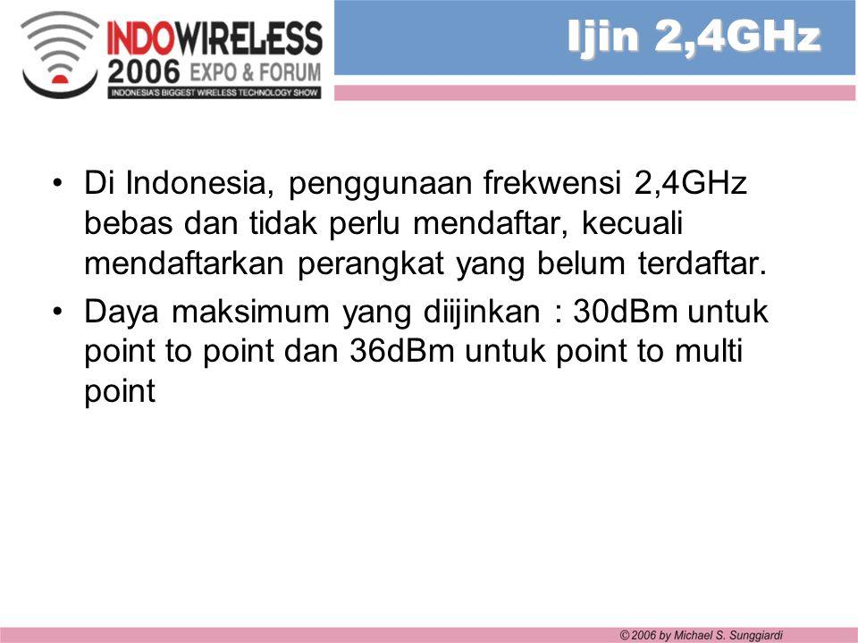 Ijin 2,4GHz Di Indonesia, penggunaan frekwensi 2,4GHz bebas dan tidak perlu mendaftar, kecuali mendaftarkan perangkat yang belum terdaftar. Daya maksi