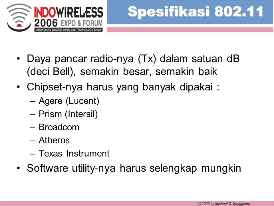 Spesifikasi 802.11 Daya pancar radio-nya (Tx) dalam satuan dB (deci Bell), semakin besar, semakin baik Chipset-nya harus yang banyak dipakai : –Agere