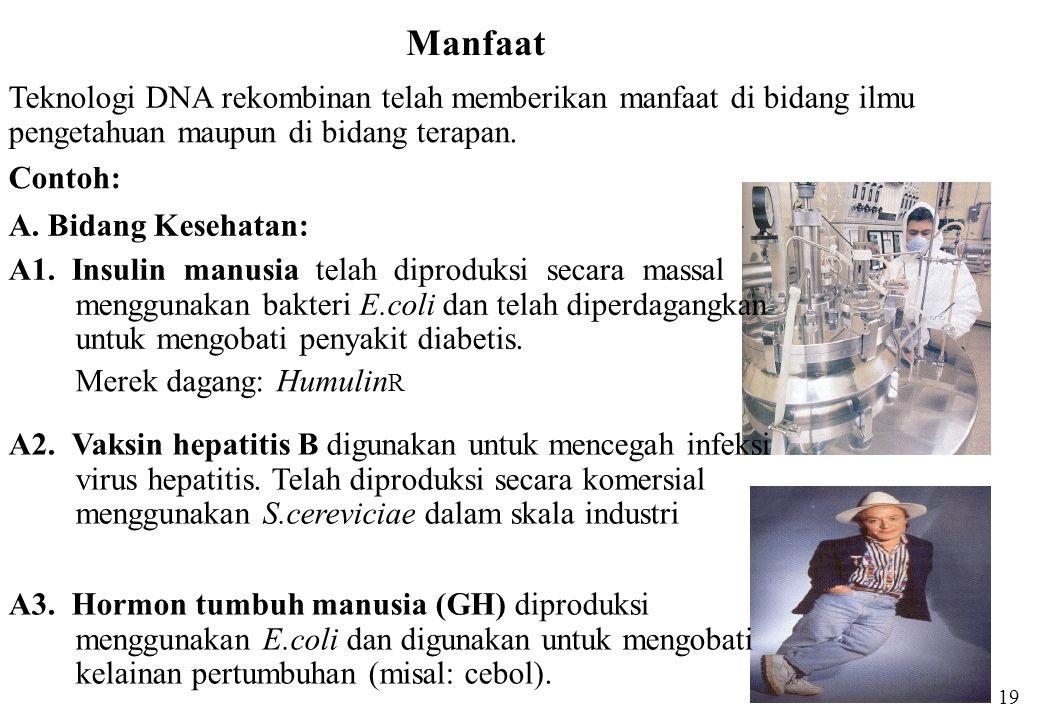 Manfaat Teknologi DNA rekombinan telah memberikan manfaat di bidang ilmu pengetahuan maupun di bidang terapan. Contoh: A. Bidang Kesehatan: A1. Insuli