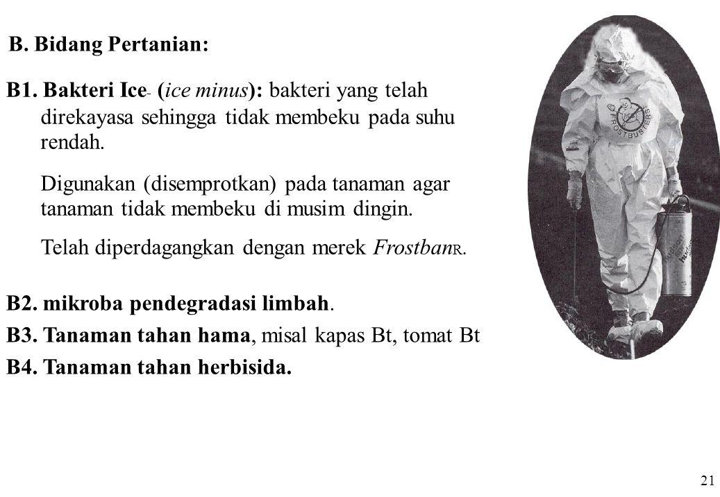 B1. Bakteri Ice - (ice minus): bakteri yang telah direkayasa sehingga tidak membeku pada suhu rendah. Digunakan (disemprotkan) pada tanaman agar tanam