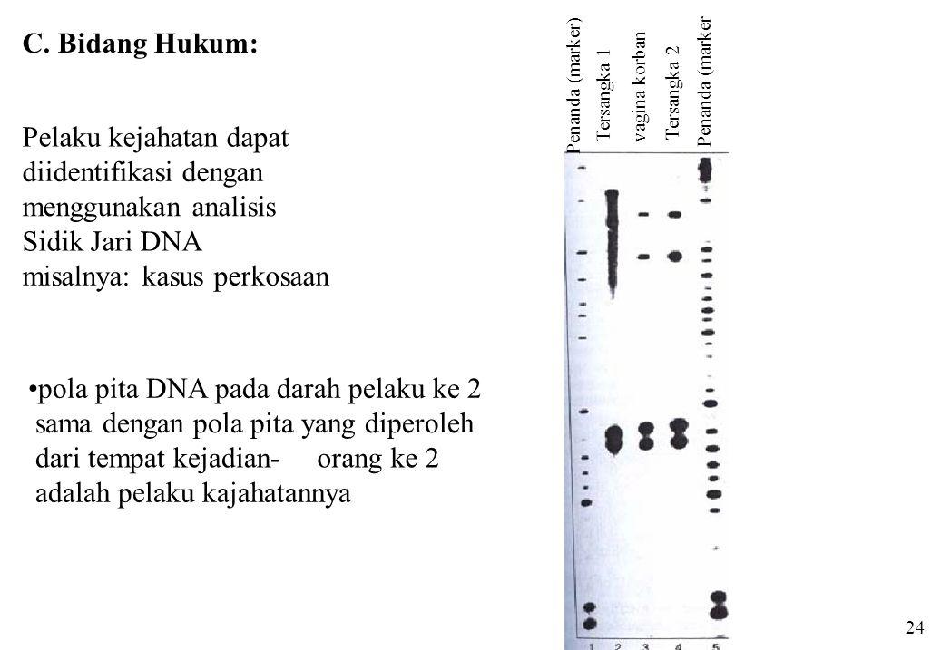Penanda (marker) Tersangka 1 Tersangka 2 Penanda (marker vagina korban Pelaku kejahatan dapat diidentifikasi dengan menggunakan analisis Sidik Jari DN