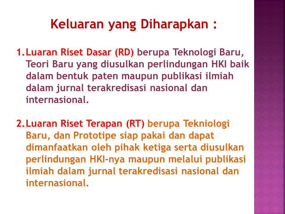 1.Luaran Riset Dasar (RD) berupa Teknologi Baru, Teori Baru yang diusulkan perlindungan HKI baik dalam bentuk paten maupun publikasi ilmiah dalam jurn