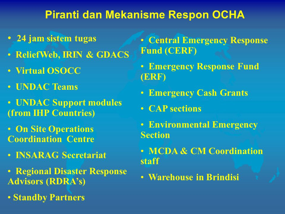 Piranti dan Mekanisme Respon OCHA 24 jam sistem tugas ReliefWeb, IRIN & GDACS Virtual OSOCC UNDAC Teams UNDAC Support modules (from IHP Countries) On Site Operations Coordination Centre INSARAG Secretariat Regional Disaster Response Advisors (RDRA's) Standby Partners Central Emergency Response Fund (CERF) Emergency Response Fund (ERF) Emergency Cash Grants CAP sections Environmental Emergency Section MCDA & CM Coordination staff Warehouse in Brindisi