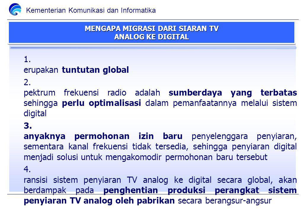 Kementerian Komunikasi dan Informatika MENGAPA MIGRASI DARI SIARAN TV ANALOG KE DIGITAL 1.M erupakan tuntutan global 2.S pektrum frekuensi radio adalah sumberdaya yang terbatas sehingga perlu optimalisasi dalam pemanfaatannya melalui sistem digital 3.B anyaknya permohonan izin baru penyelenggara penyiaran, sementara kanal frekuensi tidak tersedia, sehingga penyiaran digital menjadi solusi untuk mengakomodir permohonan baru tersebut 4.T ransisi sistem penyiaran TV analog ke digital secara global, akan berdampak pada penghentian produksi perangkat sistem penyiaran TV analog oleh pabrikan secara berangsur-angsur