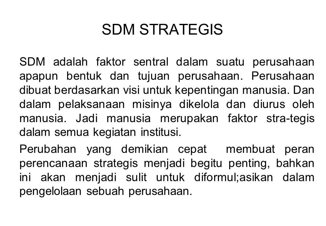 SDM adalah faktor sentral dalam suatu perusahaan apapun bentuk dan tujuan perusahaan. Perusahaan dibuat berdasarkan visi untuk kepentingan manusia. Da