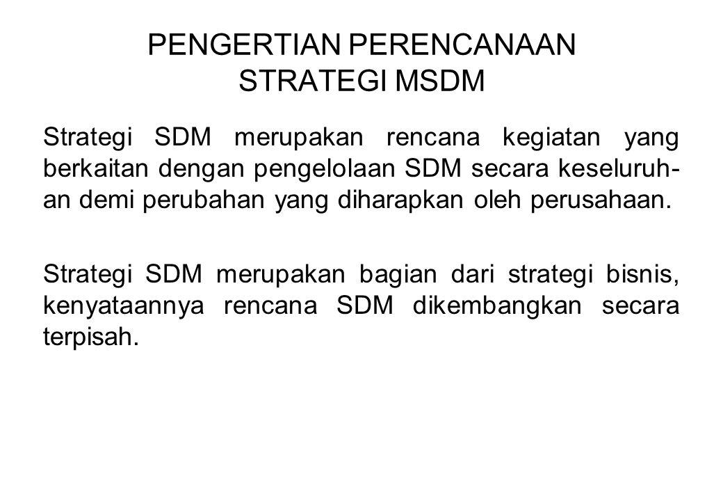 PENGERTIAN PERENCANAAN STRATEGI MSDM Strategi SDM merupakan rencana kegiatan yang berkaitan dengan pengelolaan SDM secara keseluruh- an demi perubahan