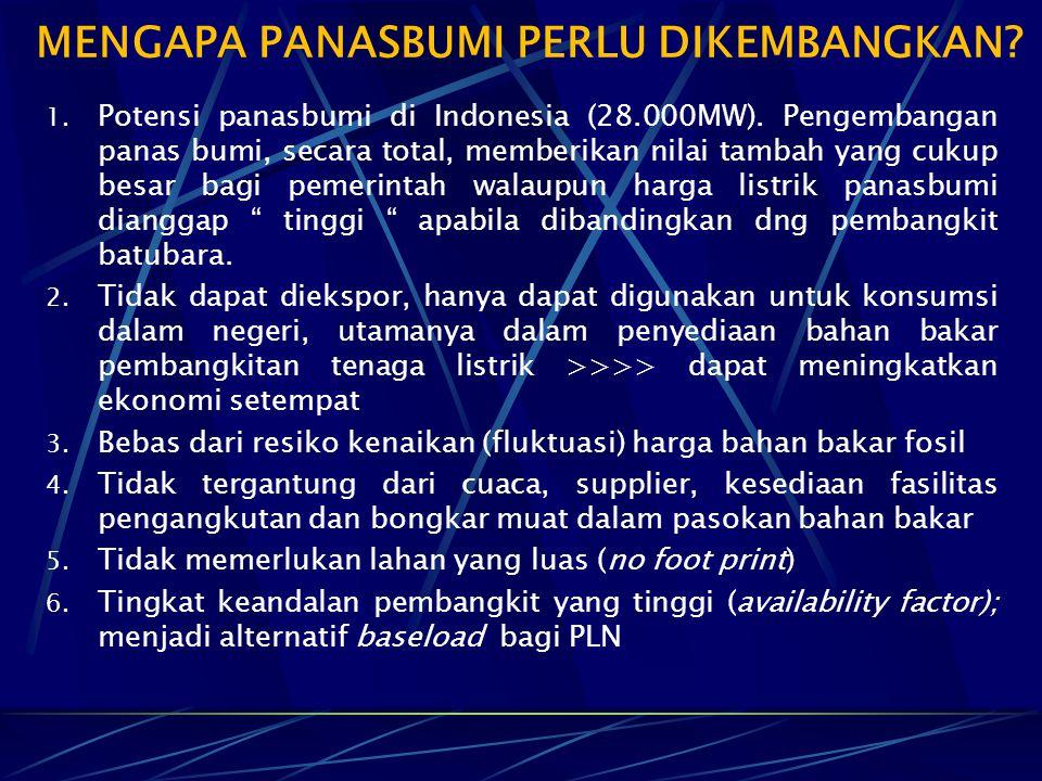 1. Potensi panasbumi di Indonesia (28.000MW). Pengembangan panas bumi, secara total, memberikan nilai tambah yang cukup besar bagi pemerintah walaupun