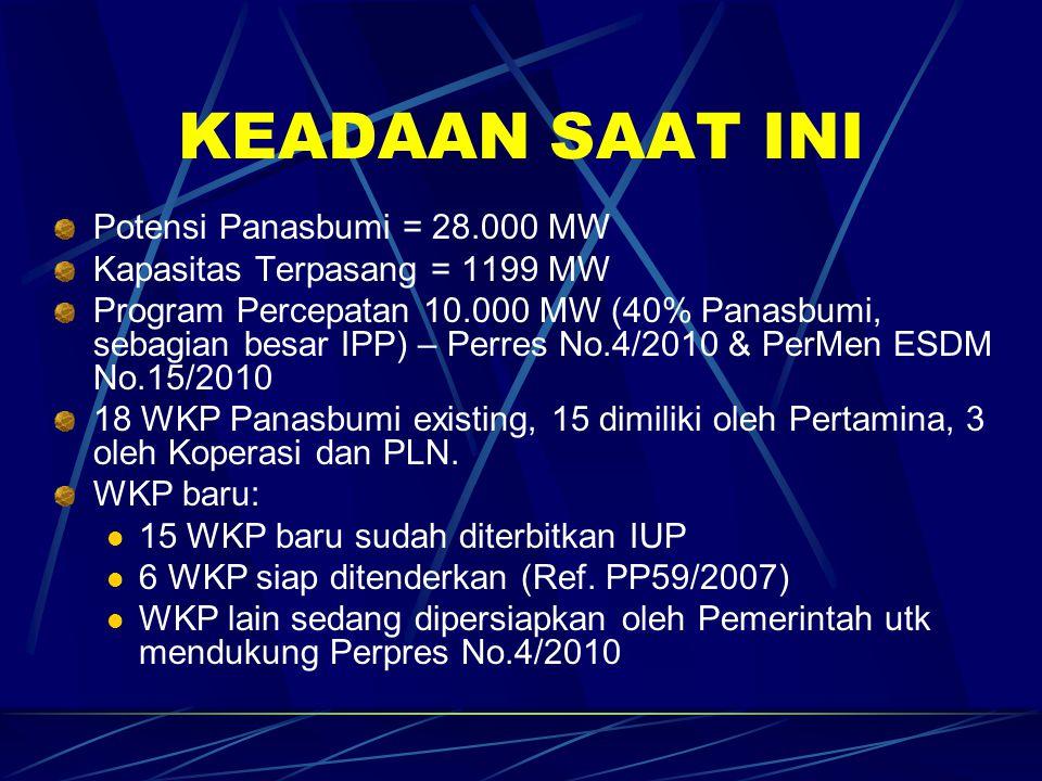 KEADAAN SAAT INI Potensi Panasbumi = 28.000 MW Kapasitas Terpasang = 1199 MW Program Percepatan 10.000 MW (40% Panasbumi, sebagian besar IPP) – Perres