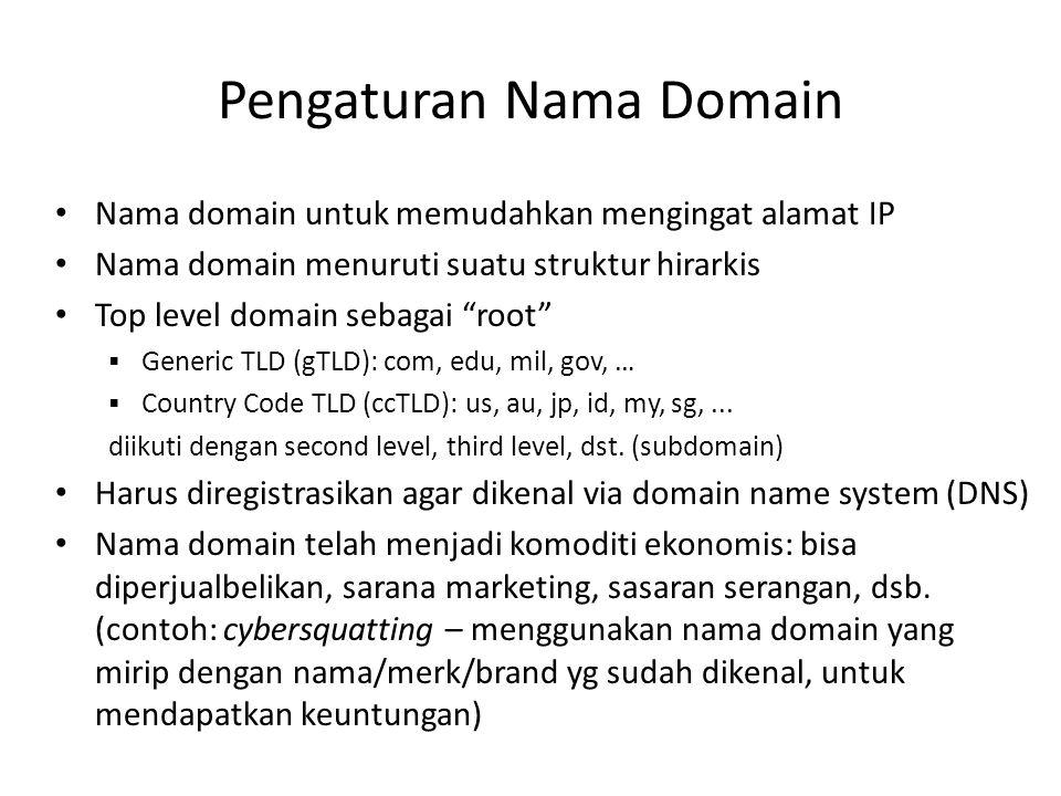 """Pengaturan Nama Domain Nama domain untuk memudahkan mengingat alamat IP Nama domain menuruti suatu struktur hirarkis Top level domain sebagai """"root"""" """