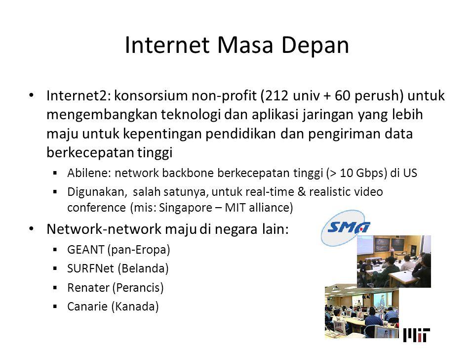 Internet Masa Depan Internet2: konsorsium non-profit (212 univ + 60 perush) untuk mengembangkan teknologi dan aplikasi jaringan yang lebih maju untuk