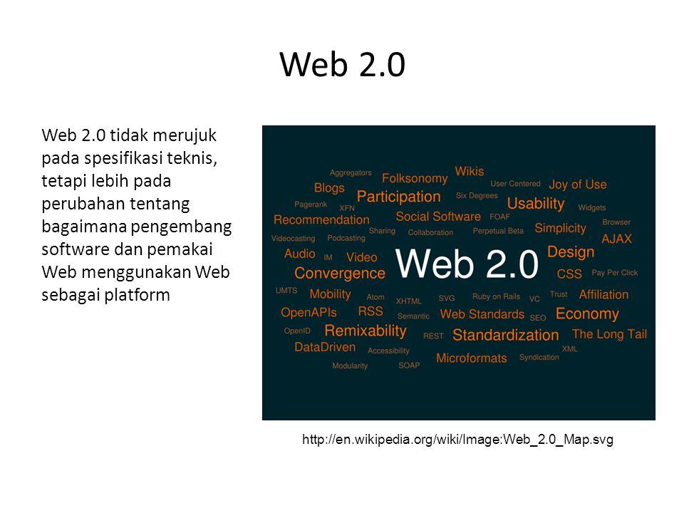 Web 2.0 Web 2.0 tidak merujuk pada spesifikasi teknis, tetapi lebih pada perubahan tentang bagaimana pengembang software dan pemakai Web menggunakan Web sebagai platform http://en.wikipedia.org/wiki/Image:Web_2.0_Map.svg