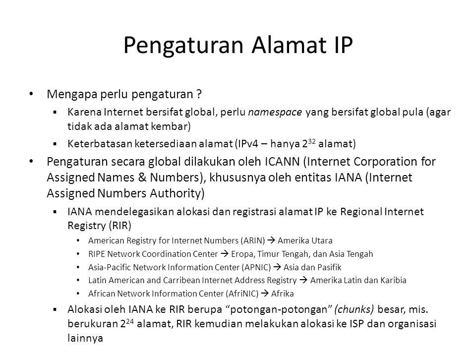 Pengaturan Alamat IP Mengapa perlu pengaturan ?  Karena Internet bersifat global, perlu namespace yang bersifat global pula (agar tidak ada alamat ke