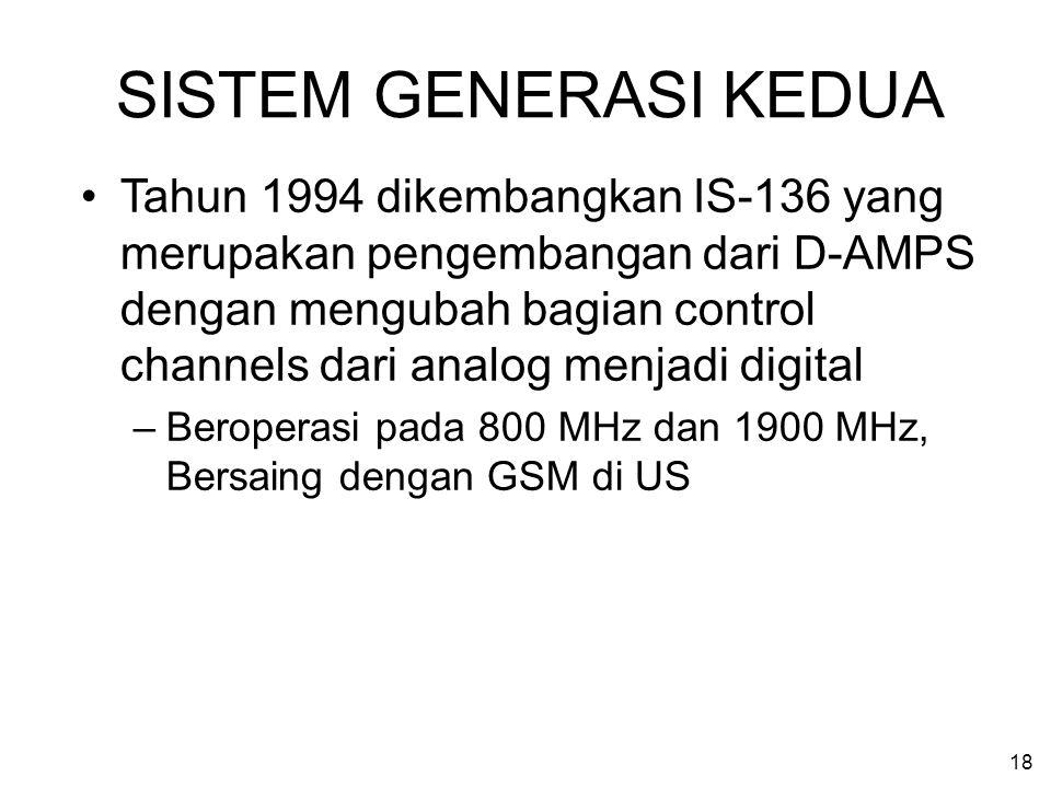 18 SISTEM GENERASI KEDUA Tahun 1994 dikembangkan IS-136 yang merupakan pengembangan dari D-AMPS dengan mengubah bagian control channels dari analog me