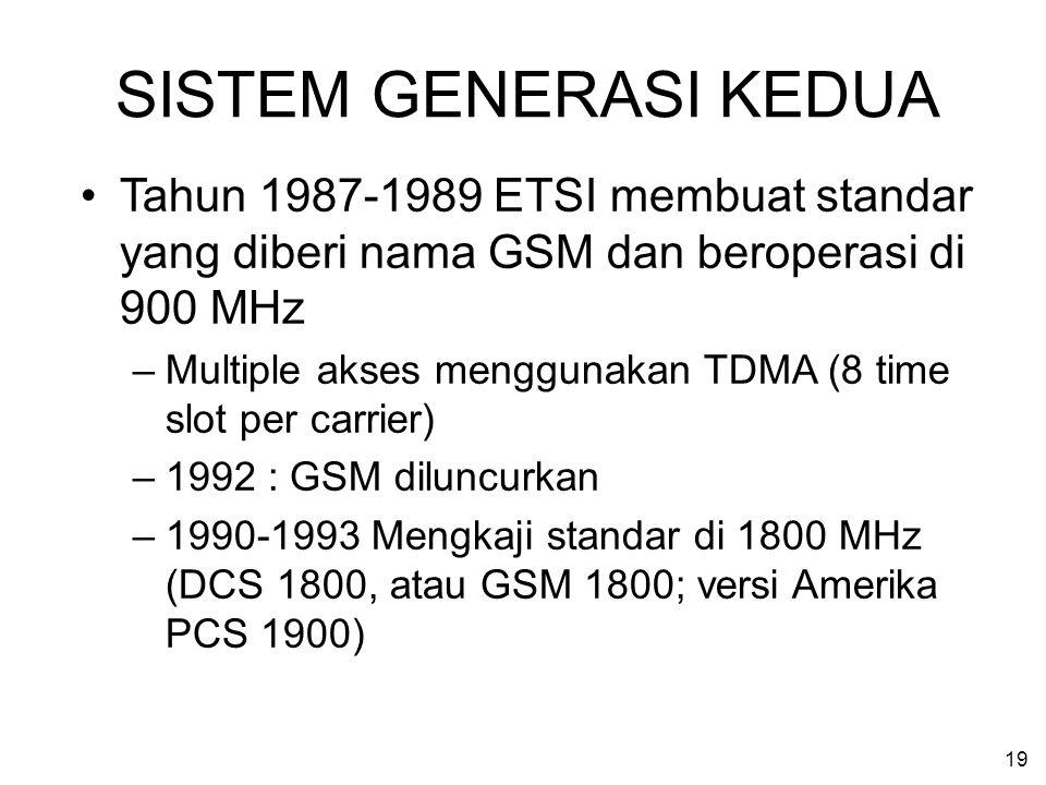 19 SISTEM GENERASI KEDUA Tahun 1987-1989 ETSI membuat standar yang diberi nama GSM dan beroperasi di 900 MHz –Multiple akses menggunakan TDMA (8 time