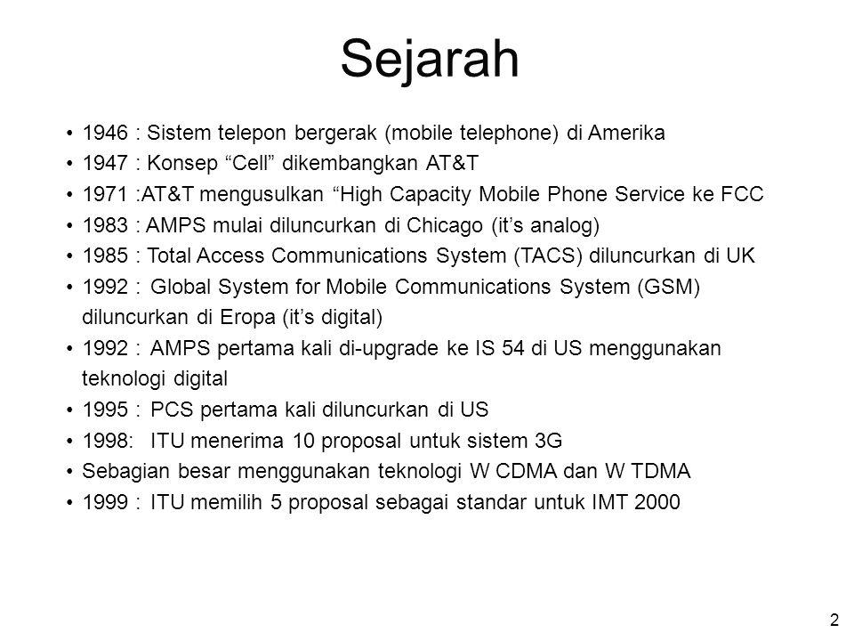 """2 1946 : Sistem telepon bergerak (mobile telephone) di Amerika 1947 : Konsep """"Cell"""" dikembangkan AT&T 1971 :AT&T mengusulkan """"High Capacity Mobile Pho"""