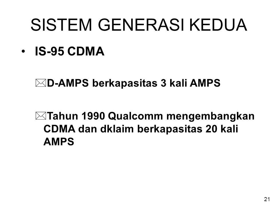 21 SISTEM GENERASI KEDUA IS-95 CDMA *D-AMPS berkapasitas 3 kali AMPS *Tahun 1990 Qualcomm mengembangkan CDMA dan dklaim berkapasitas 20 kali AMPS