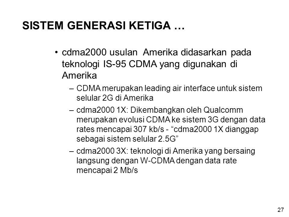 27 SISTEM GENERASI KETIGA … cdma2000 usulan Amerika didasarkan pada teknologi IS-95 CDMA yang digunakan di Amerika –CDMA merupakan leading air interfa