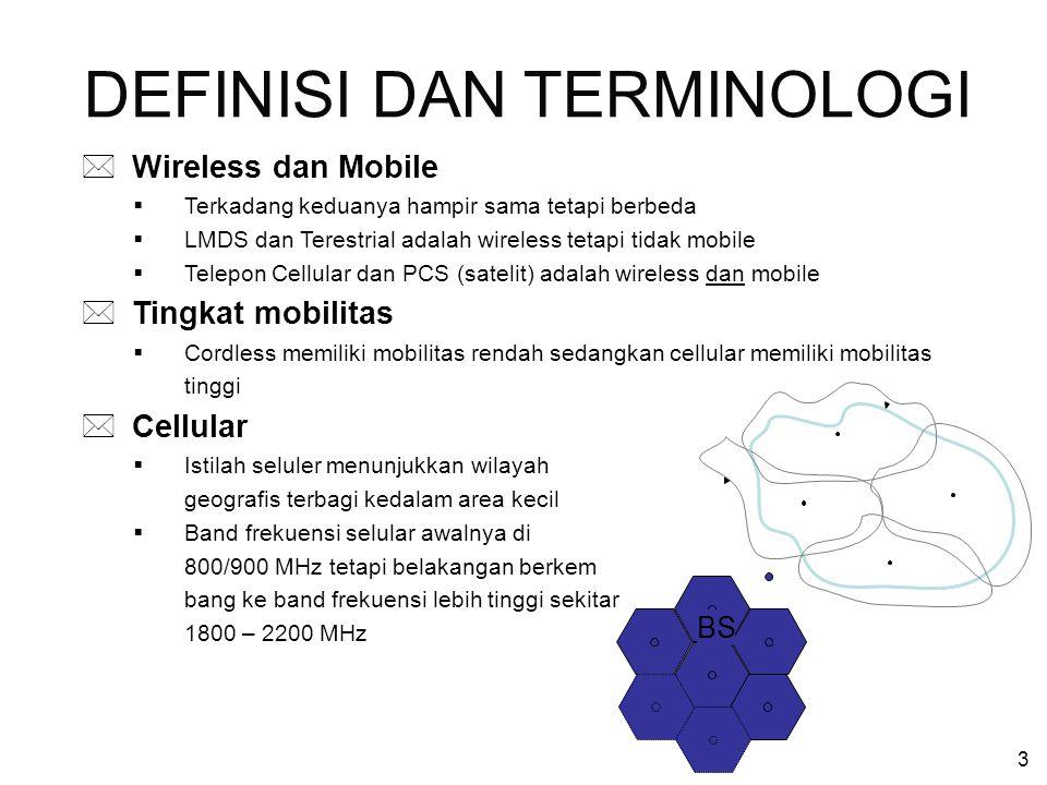 4 * Personal Communications Services (PCS)  Merupakan visi negara UK terhadap telepon bergerak masa depan pada tahun 1989 (nama sebelumnya : Personal Communication Networks PCN)  Secara formal PCS dipakai oleh FCC sebagai telepon bergerak di frekuensi 1900 MHz  PCS menggunakan konsep GSM * Wireless Local Loop : Low Tier PCS (Definisi 1)  Overlap antara selular dan cordless (sel kecil, low mobility)  Teknologi : DECT, PACS, dan PHS * Wireless Local Loop : Fixed Wireless (Definisi 2)  Lokal akses sebagai pengganti kabel, digunakan pada daerah tersebar dan mahal jika diimplementasikan dengan kabel  Teknologi : LMDS, MMDS  Aplikasi broadband DEFINISI DAN TERMINOLOGI