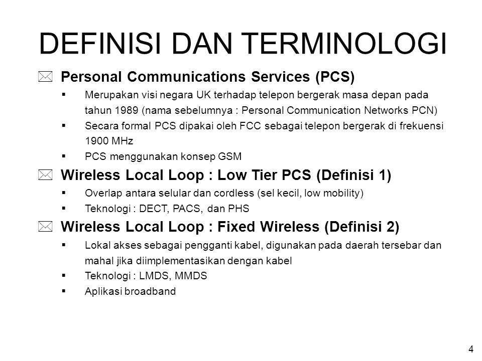 4 * Personal Communications Services (PCS)  Merupakan visi negara UK terhadap telepon bergerak masa depan pada tahun 1989 (nama sebelumnya : Personal