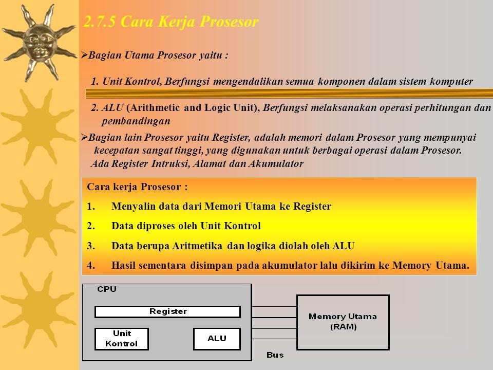 2.7.4 Kecepatan Prosesor Kecepatan Prosesor adalah Jumlah pulsa yang dapat dihasilkan oleh clock pada Prosesor per detik.