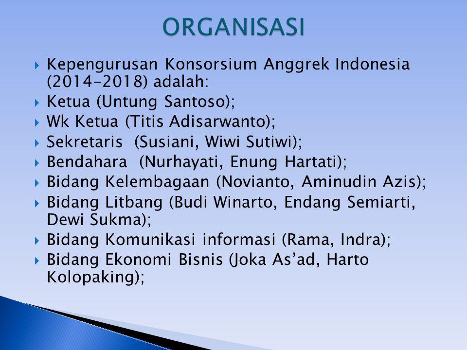  Kepengurusan Konsorsium Anggrek Indonesia (2014-2018) adalah:  Ketua (Untung Santoso);  Wk Ketua (Titis Adisarwanto);  Sekretaris (Susiani, Wiwi Sutiwi);  Bendahara (Nurhayati, Enung Hartati);  Bidang Kelembagaan (Novianto, Aminudin Azis);  Bidang Litbang (Budi Winarto, Endang Semiarti, Dewi Sukma);  Bidang Komunikasi informasi (Rama, Indra);  Bidang Ekonomi Bisnis (Joka As'ad, Harto Kolopaking);