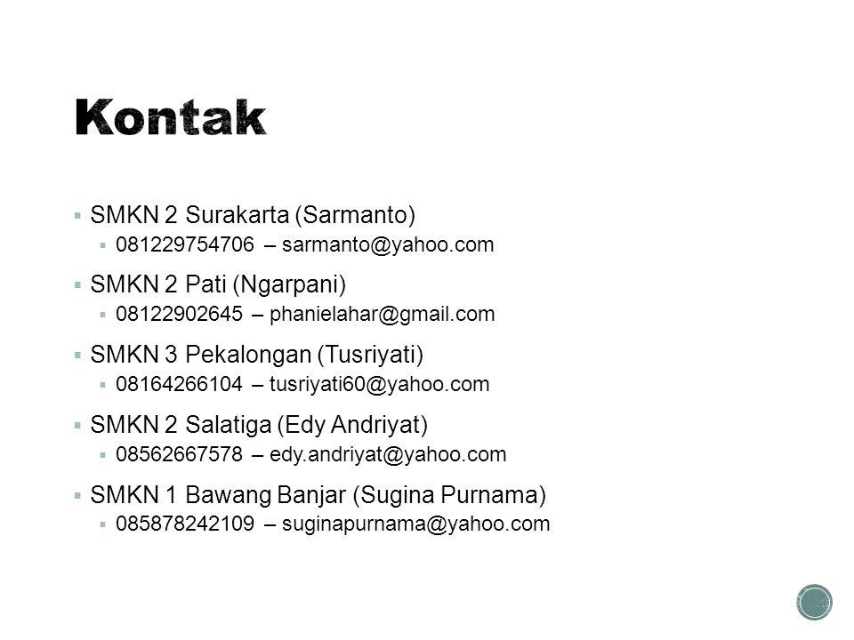  SMKN 2 Surakarta (Sarmanto)  081229754706 – sarmanto@yahoo.com  SMKN 2 Pati (Ngarpani)  08122902645 – phanielahar@gmail.com  SMKN 3 Pekalongan (