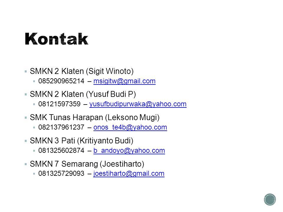  SMKN 2 Klaten (Sigit Winoto)  085290965214 – msigitw@gmail.commsigitw@gmail.com  SMKN 2 Klaten (Yusuf Budi P)  08121597359 – yusufbudipurwaka@yah