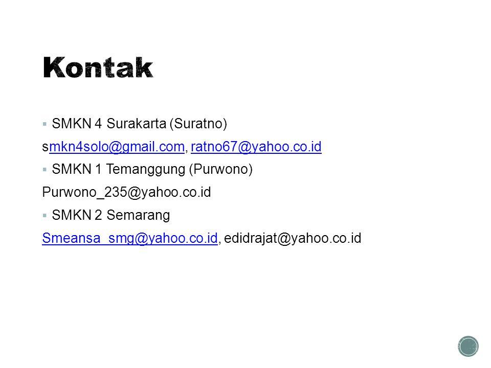  SMKN 4 Surakarta (Suratno) smkn4solo@gmail.com, ratno67@yahoo.co.idmkn4solo@gmail.comratno67@yahoo.co.id  SMKN 1 Temanggung (Purwono) Purwono_235@y
