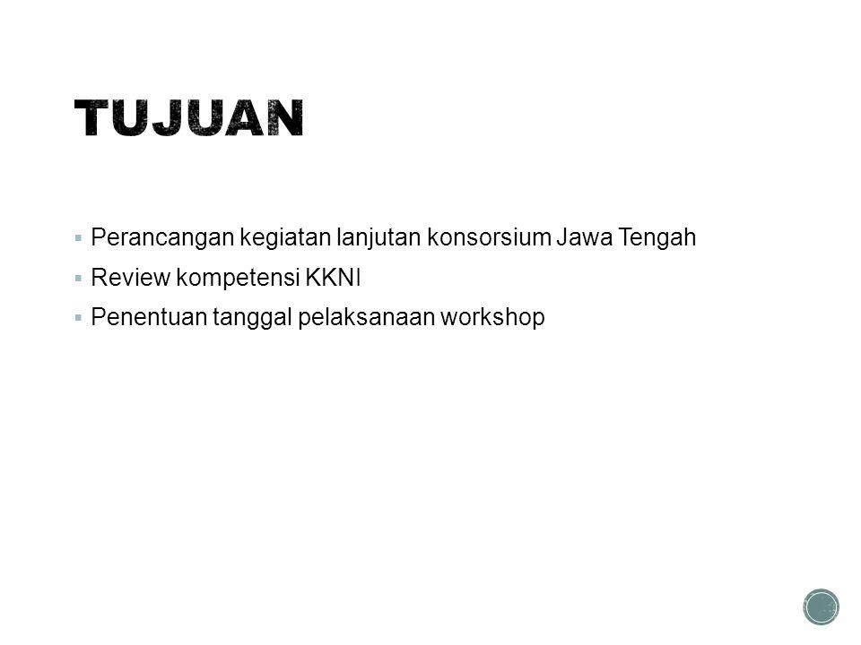  Perancangan kegiatan lanjutan konsorsium Jawa Tengah  Review kompetensi KKNI  Penentuan tanggal pelaksanaan workshop