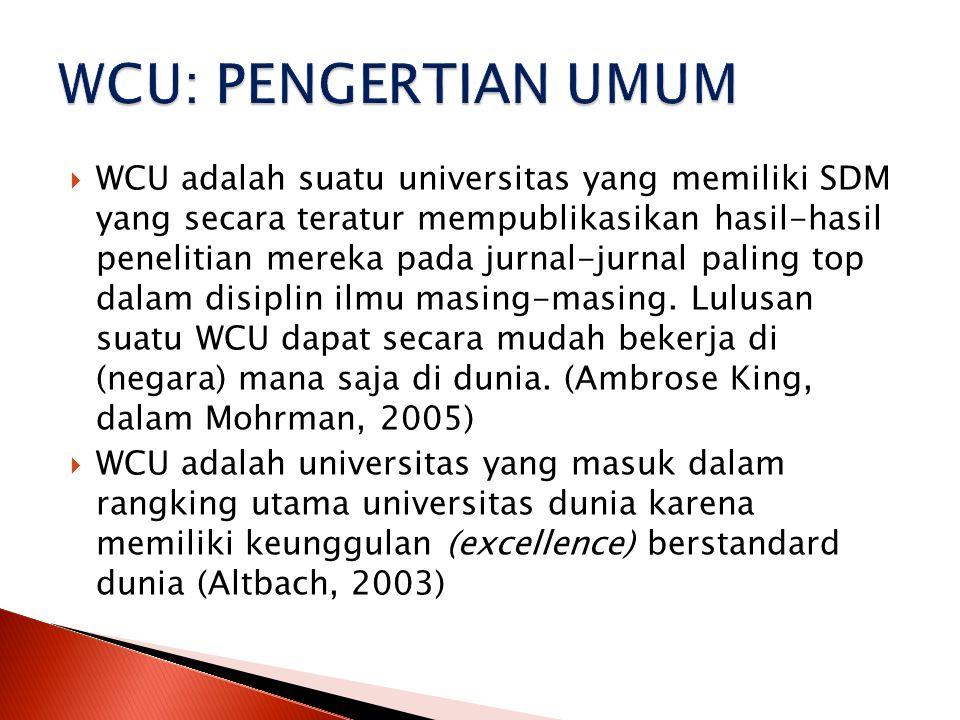  WCU adalah suatu universitas yang memiliki SDM yang secara teratur mempublikasikan hasil-hasil penelitian mereka pada jurnal-jurnal paling top dalam