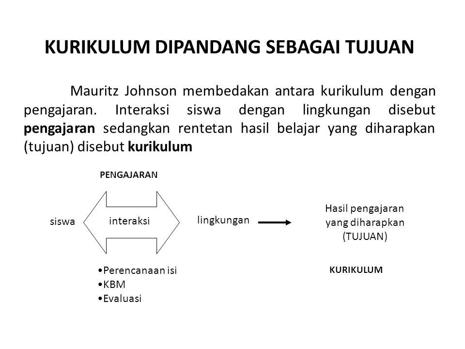 . KURIKULUM DIPANDANG SEBAGAI TUJUAN Mauritz Johnson membedakan antara kurikulum dengan pengajaran. Interaksi siswa dengan lingkungan disebut pengajar