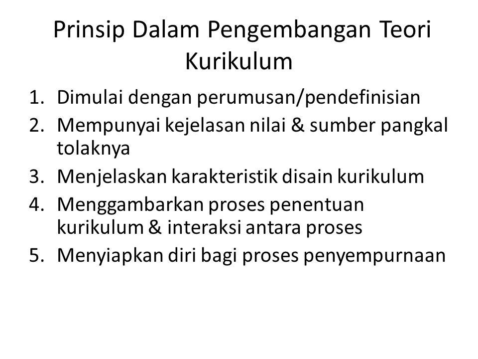 Prinsip Dalam Pengembangan Teori Kurikulum 1.Dimulai dengan perumusan/pendefinisian 2.Mempunyai kejelasan nilai & sumber pangkal tolaknya 3.Menjelaska