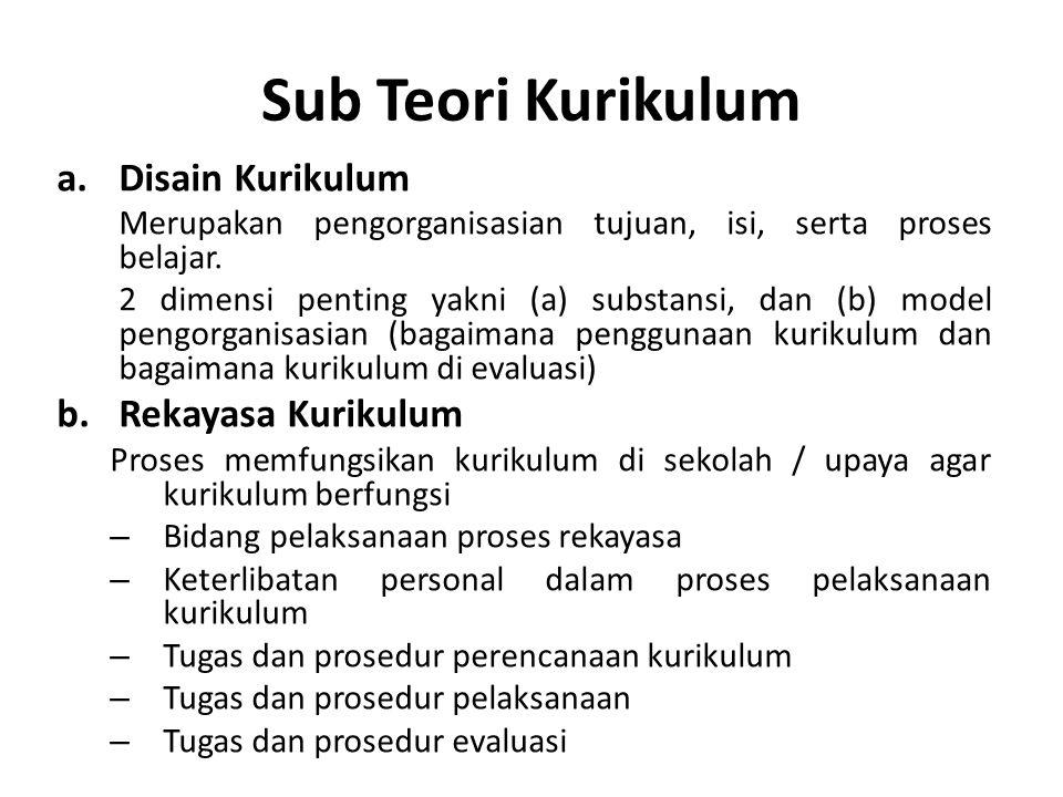 Sub Teori Kurikulum a.Disain Kurikulum Merupakan pengorganisasian tujuan, isi, serta proses belajar. 2 dimensi penting yakni (a) substansi, dan (b) mo