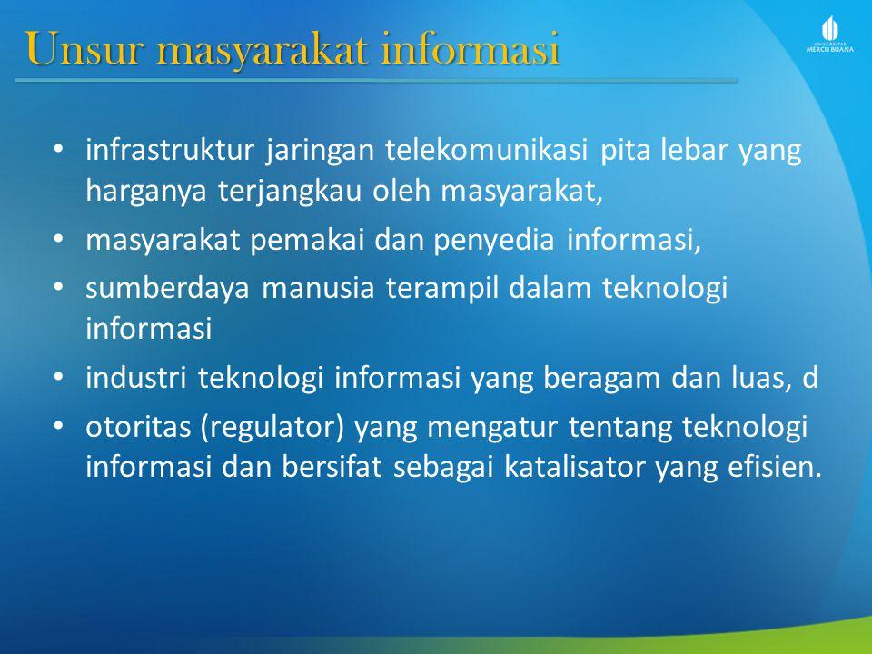 Unsur masyarakat informasi infrastruktur jaringan telekomunikasi pita lebar yang harganya terjangkau oleh masyarakat, masyarakat pemakai dan penyedia